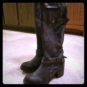 Mia Shoes - MIA dark gray punk buckle knee high combat boots